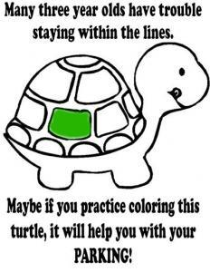Bad parking printable notice Turtle coloring sheet